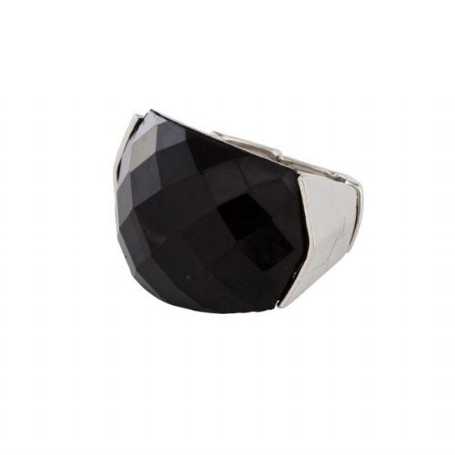 Resin and Silver Elasticated Ring in Black